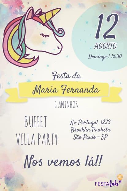 Convite de aniversario - Unicornio