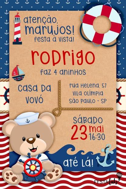 Convite de aniversario - Urso Marinheiro