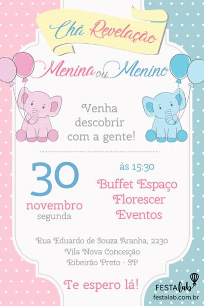 Convite de Cha Revelacao - Elefantinhos