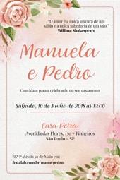 Convite de Casamento - Rosas