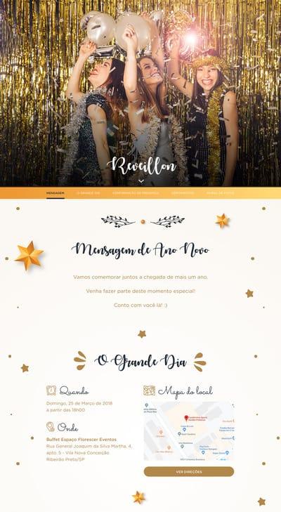Convite de Ano Novo Gratis para Editar