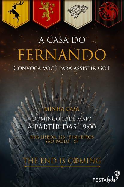 Convite - Game of Thrones