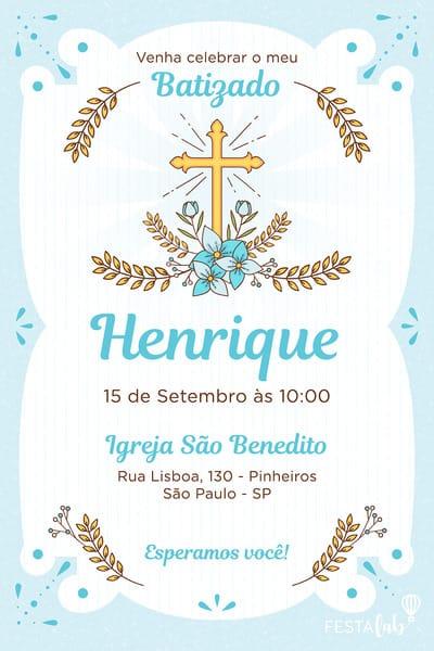 Convite de Batizado - Batizado Azul