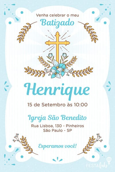 Convite De Batizado Modelos Incriveis Festalab
