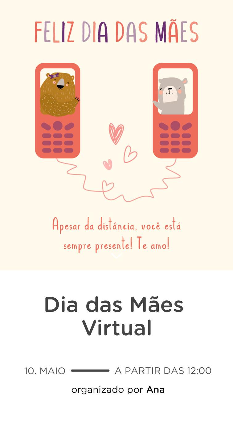 Modelo de convite - Dia das Maes Virtual